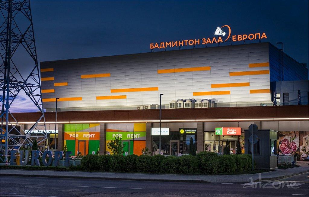 Покривна реклама Бадминтон зала Европа - Оранжеви Светещи букви